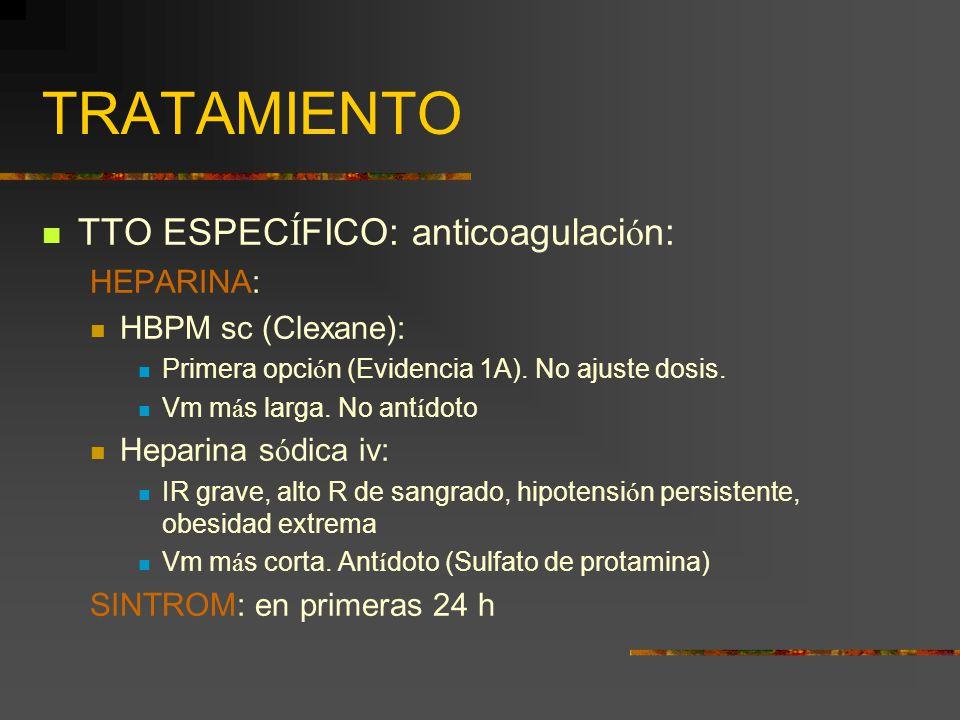 TRATAMIENTO TTO ESPECÍFICO: anticoagulación: HEPARINA: