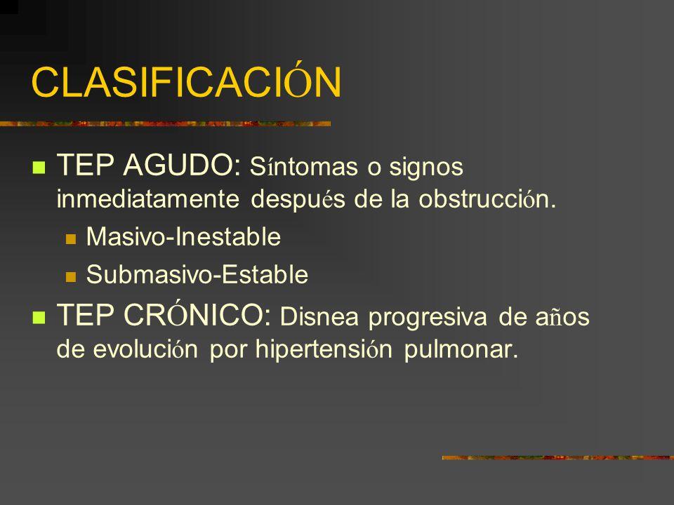 CLASIFICACIÓN TEP AGUDO: Síntomas o signos inmediatamente después de la obstrucción. Masivo-Inestable.