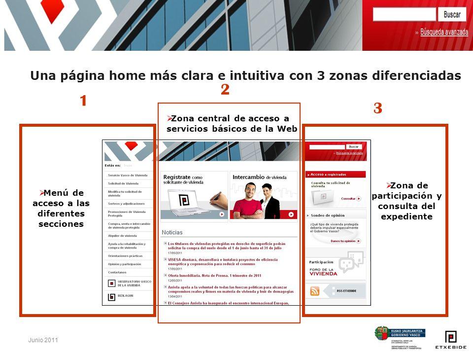 Una página home más clara e intuitiva con 3 zonas diferenciadas