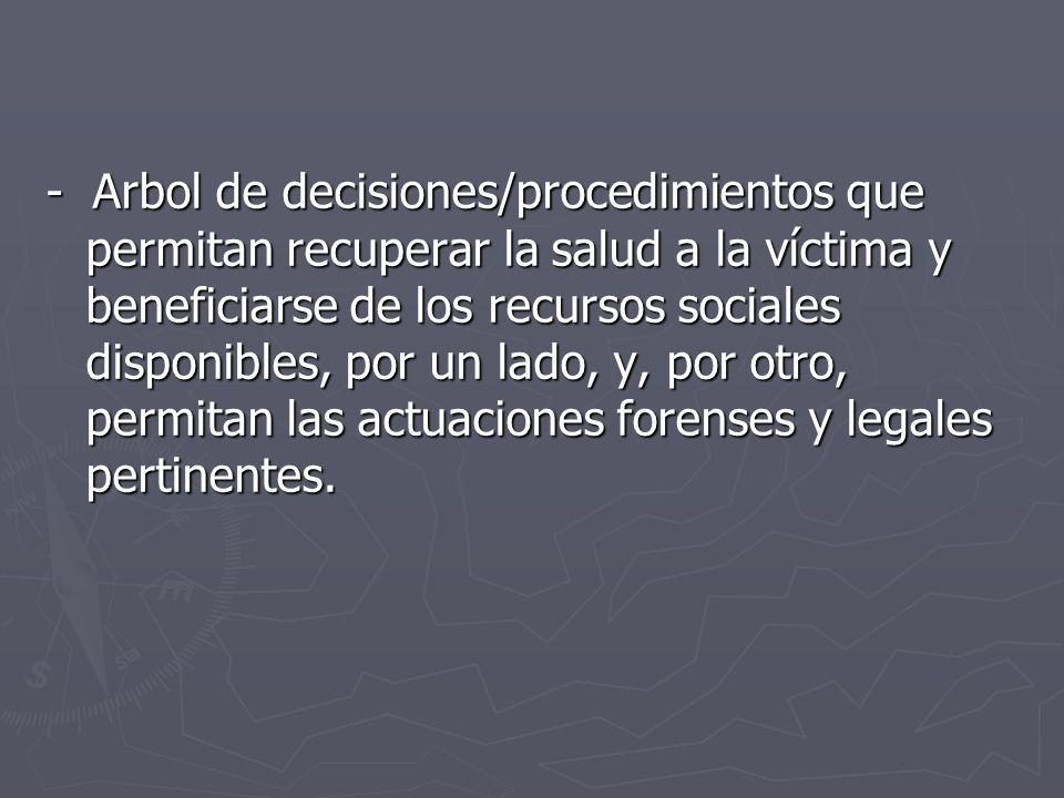 - Arbol de decisiones/procedimientos que permitan recuperar la salud a la víctima y beneficiarse de los recursos sociales disponibles, por un lado, y, por otro, permitan las actuaciones forenses y legales pertinentes.
