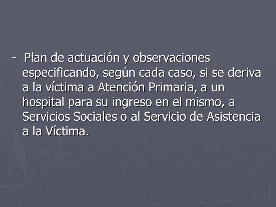 - Plan de actuación y observaciones especificando, según cada caso, si se deriva a la víctima a Atención Primaria, a un hospital para su ingreso en el mismo, a Servicios Sociales o al Servicio de Asistencia a la Víctima.