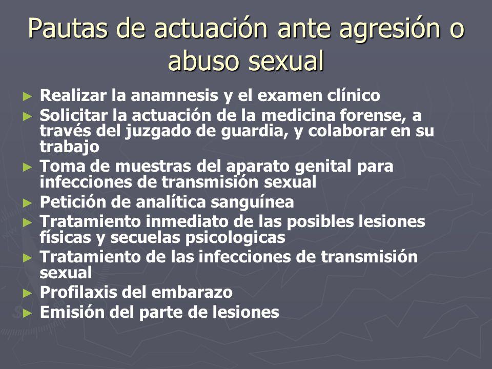 Pautas de actuación ante agresión o abuso sexual