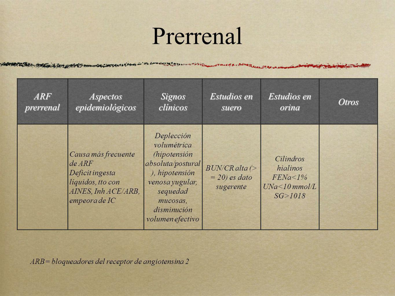 Prerrenal ARF prerrenal Aspectos epidemiológicos Signos clínicos