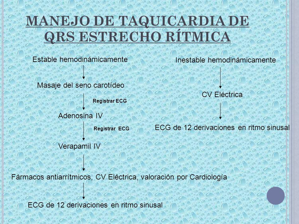 MANEJO DE TAQUICARDIA DE QRS ESTRECHO RÍTMICA
