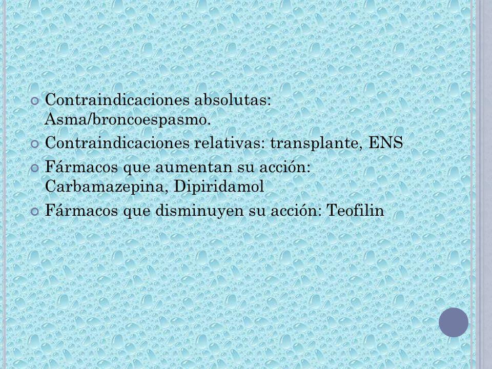 Contraindicaciones absolutas: Asma/broncoespasmo.