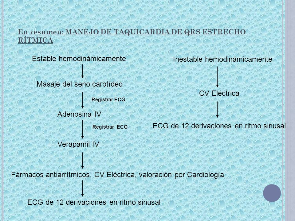 En resumen: MANEJO DE TAQUICARDIA DE QRS ESTRECHO RÍTMICA