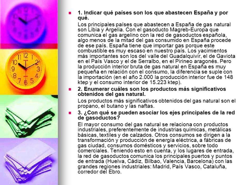 1. Indicar qué países son los que abastecen España y por qué.