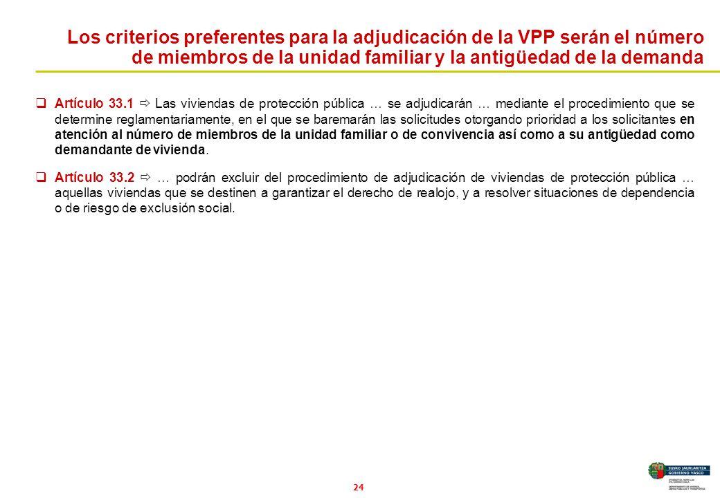 Los criterios preferentes para la adjudicación de la VPP serán el número de miembros de la unidad familiar y la antigüedad de la demanda