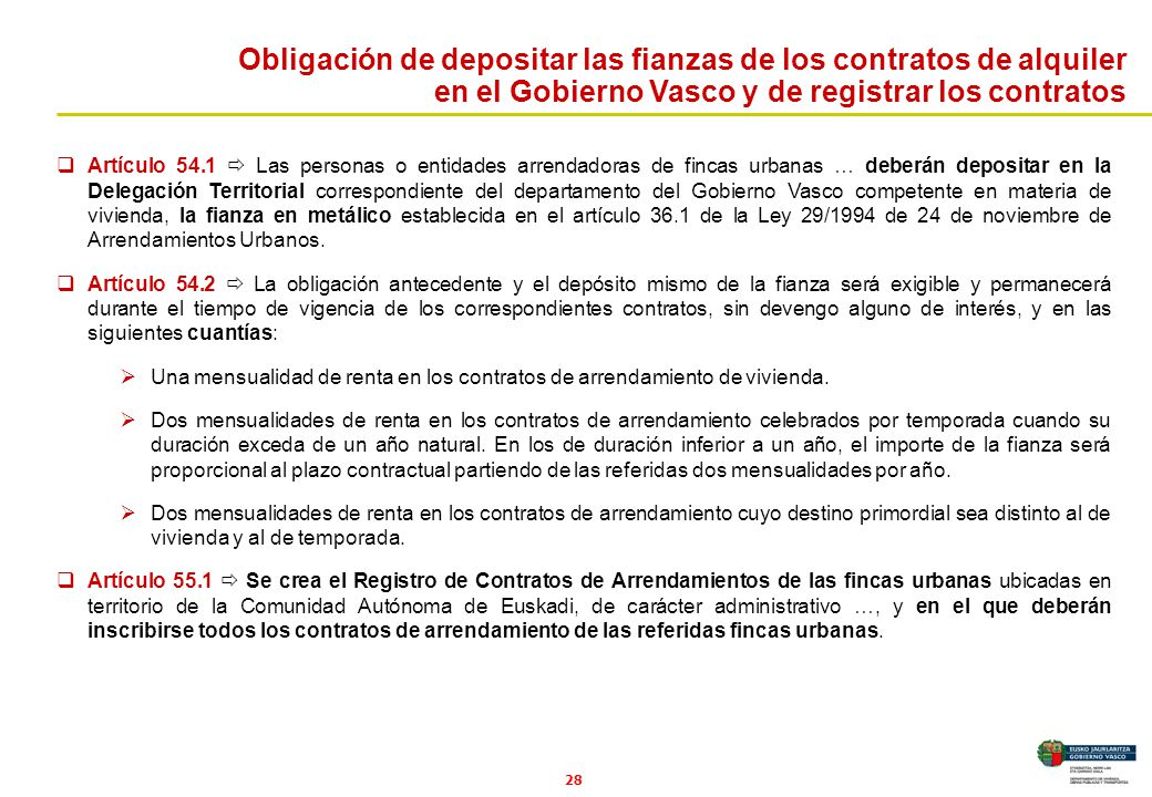 Obligación de depositar las fianzas de los contratos de alquiler