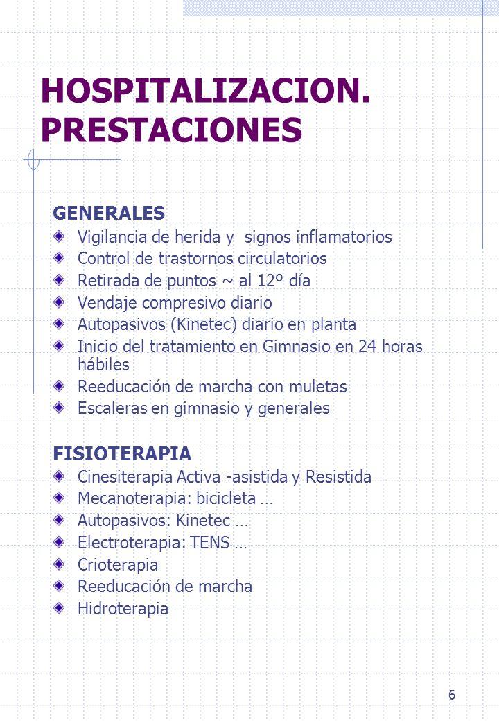 HOSPITALIZACION. PRESTACIONES