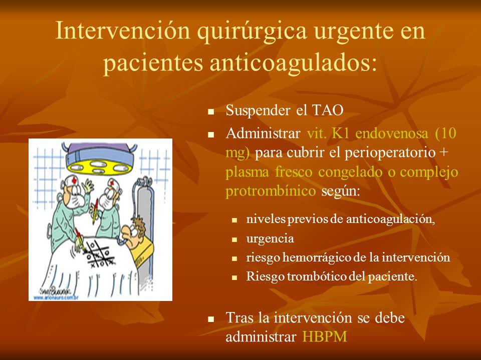 Intervención quirúrgica urgente en pacientes anticoagulados: