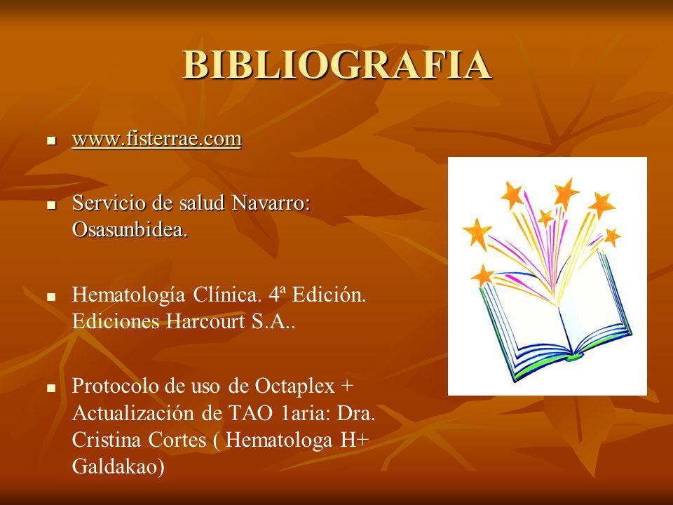 BIBLIOGRAFIA www.fisterrae.com Servicio de salud Navarro: Osasunbidea.