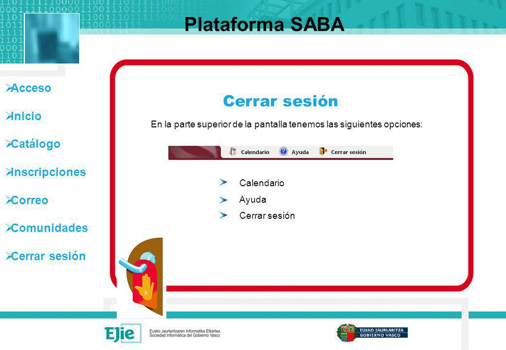 Plataforma SABA Cerrar sesión