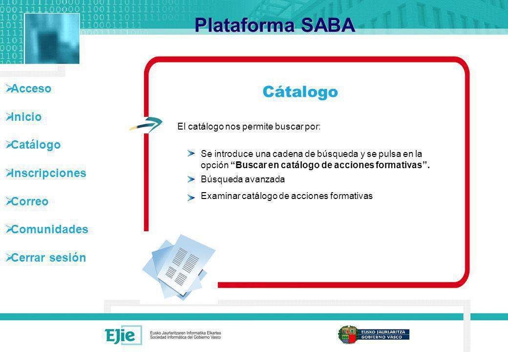 Plataforma SABA Cátalogo El catálogo nos permite buscar por: