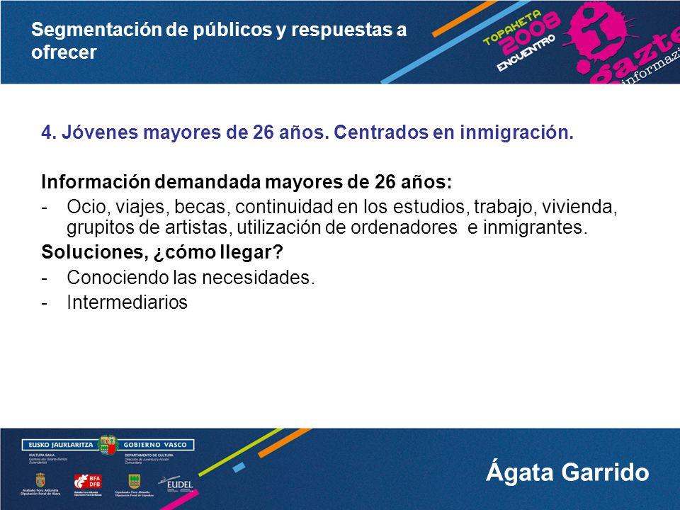 4. Jóvenes mayores de 26 años. Centrados en inmigración.