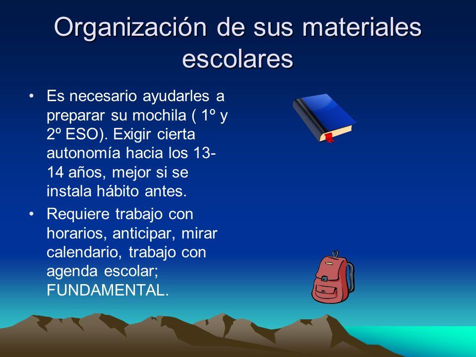 Organización de sus materiales escolares