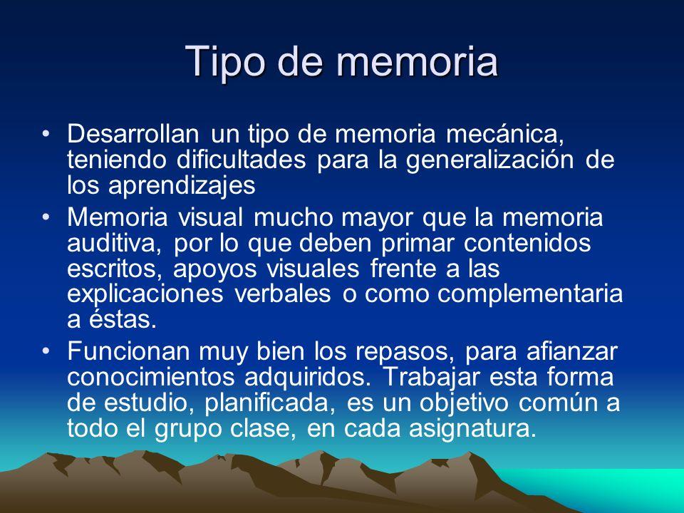 Tipo de memoria Desarrollan un tipo de memoria mecánica, teniendo dificultades para la generalización de los aprendizajes.