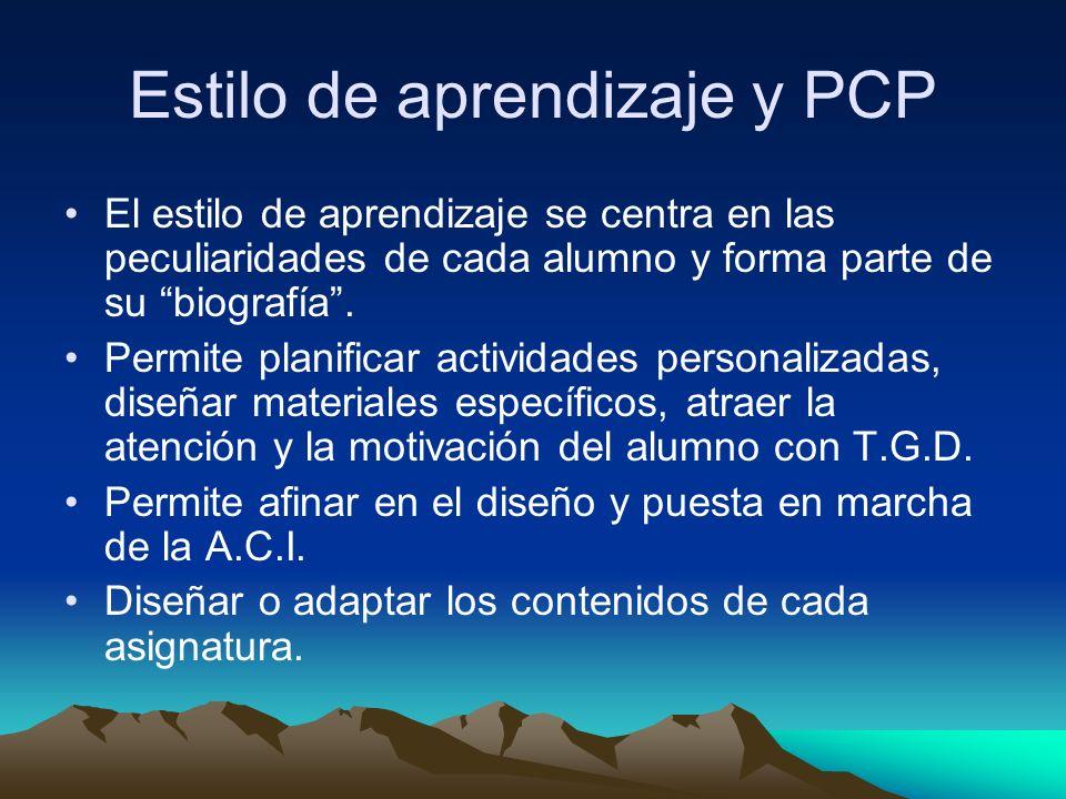 Estilo de aprendizaje y PCP