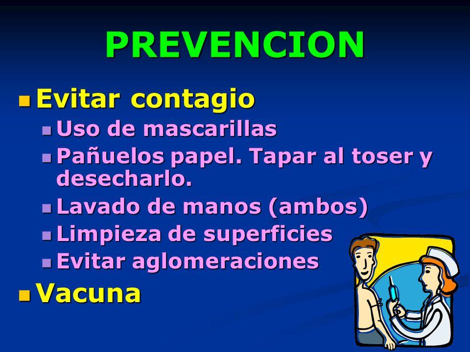 PREVENCION Evitar contagio Vacuna Uso de mascarillas