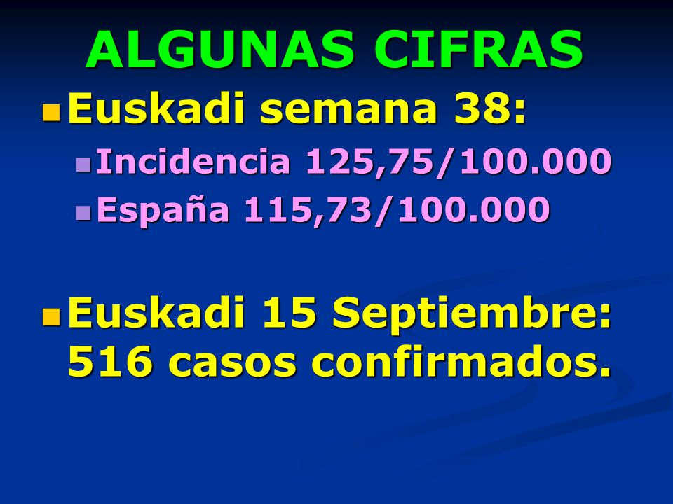 ALGUNAS CIFRAS Euskadi semana 38: