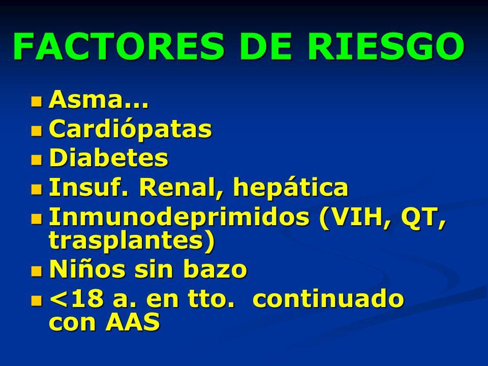 FACTORES DE RIESGO Asma... Cardiópatas Diabetes Insuf. Renal, hepática