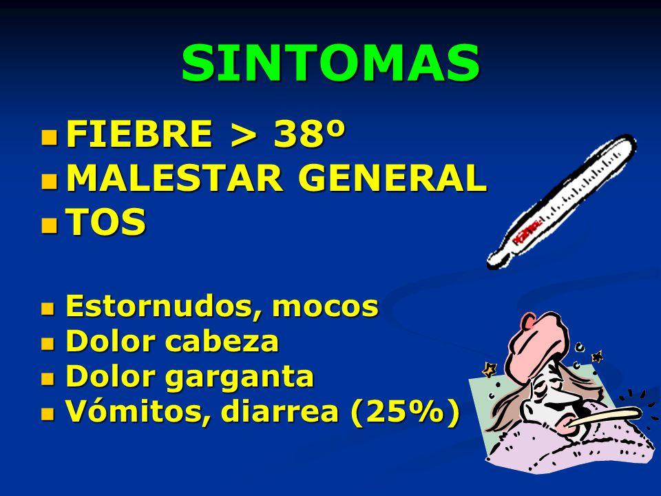 SINTOMAS FIEBRE > 38º MALESTAR GENERAL TOS Estornudos, mocos