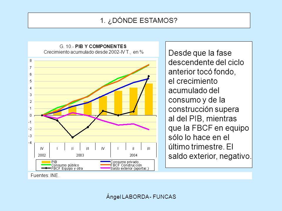 G. 10.- PIB Y COMPONENTES Crecimiento acumulado desde 2002-IV T., en %
