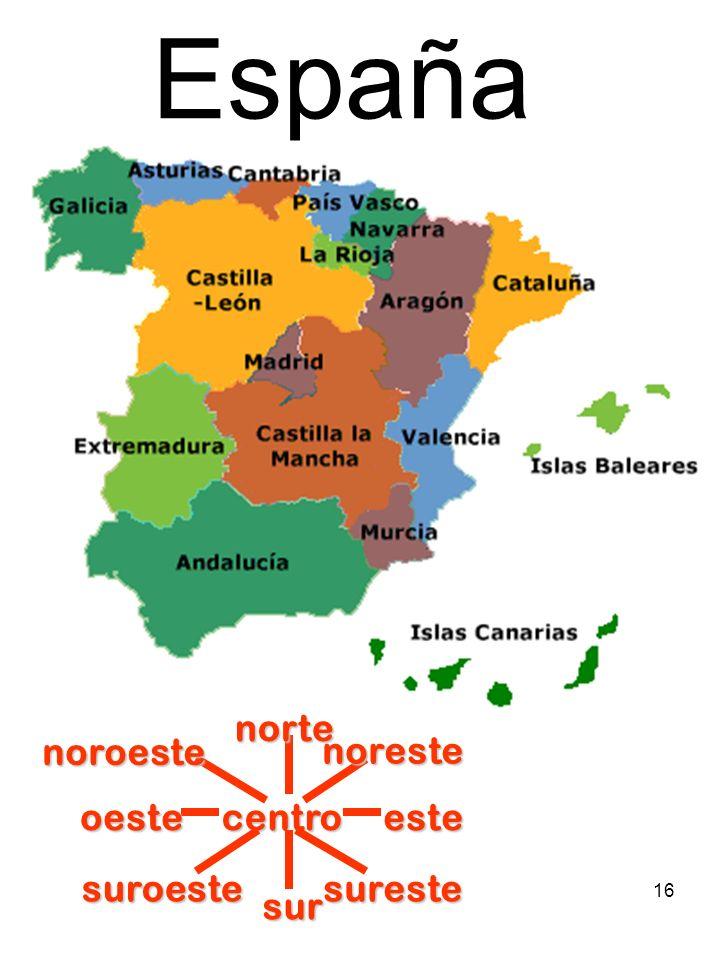 España centro norte sur este oeste noreste suroeste sureste noroeste