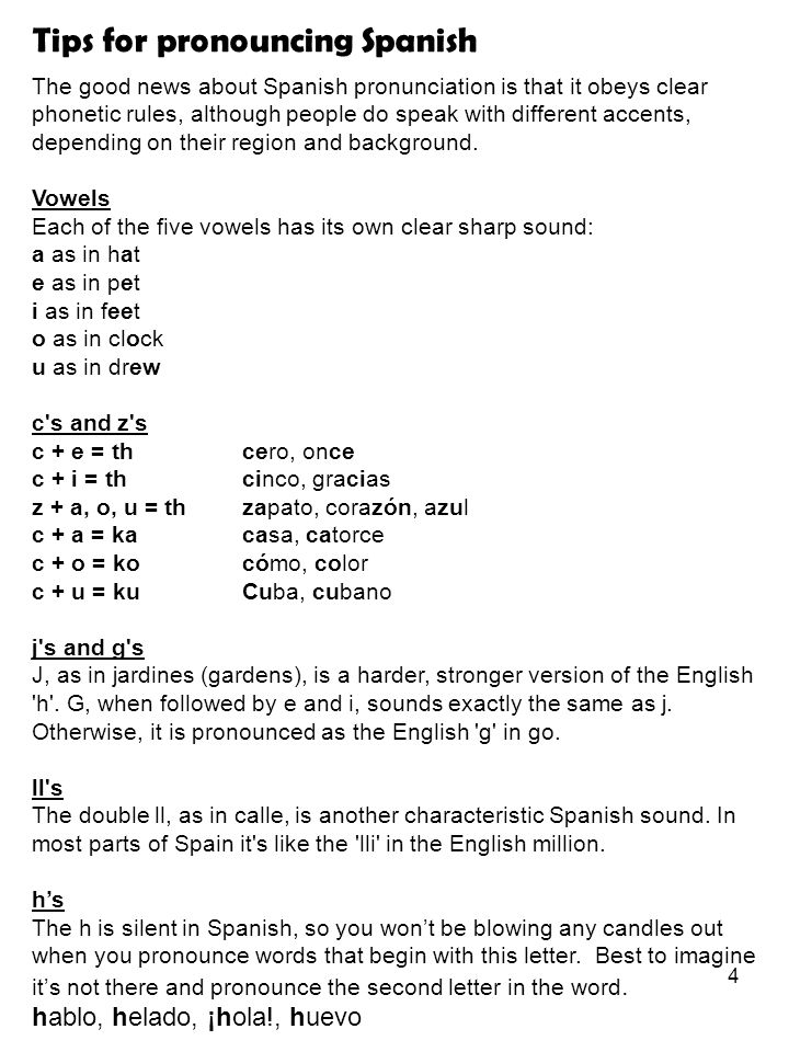 Tips for pronouncing Spanish