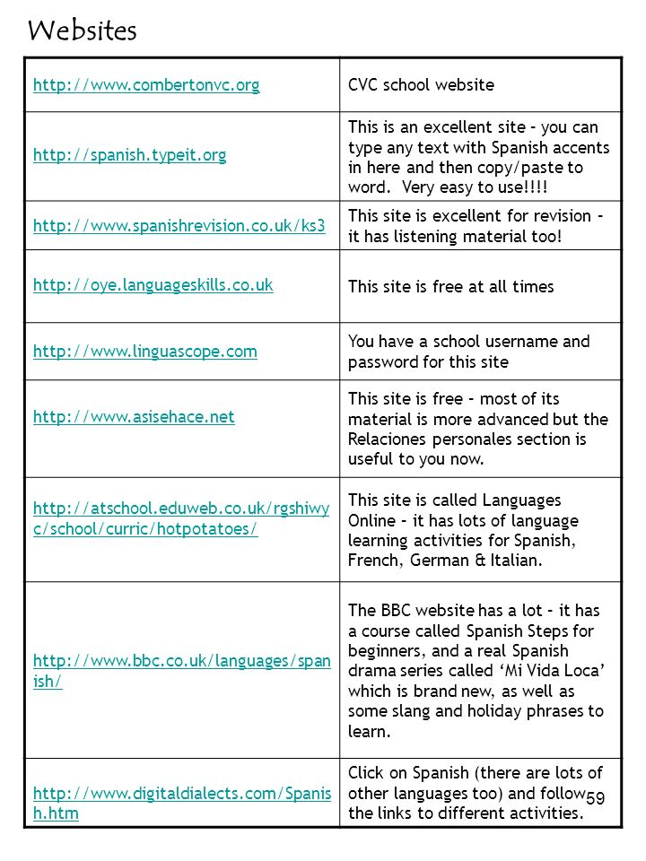 Websites http://www.combertonvc.org CVC school website
