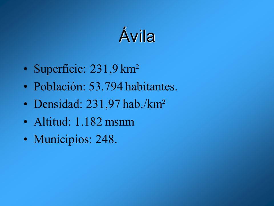 Ávila Superficie: 231,9 km² Población: 53.794 habitantes.