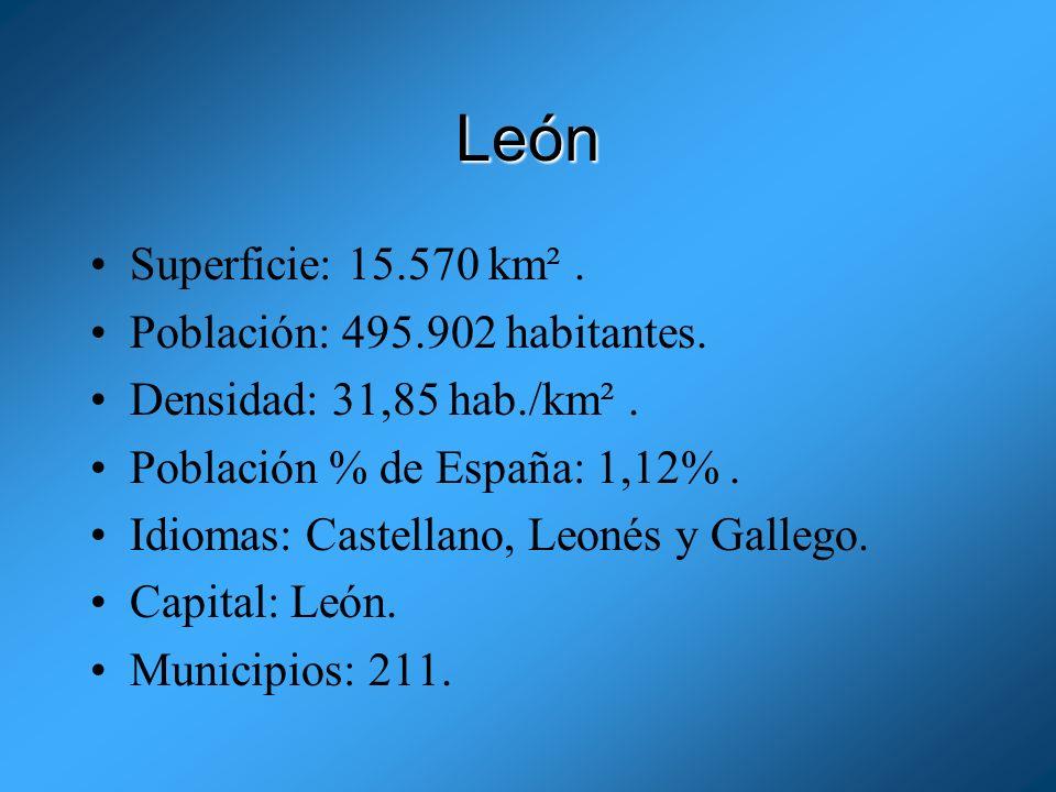 León Superficie: 15.570 km² . Población: 495.902 habitantes.