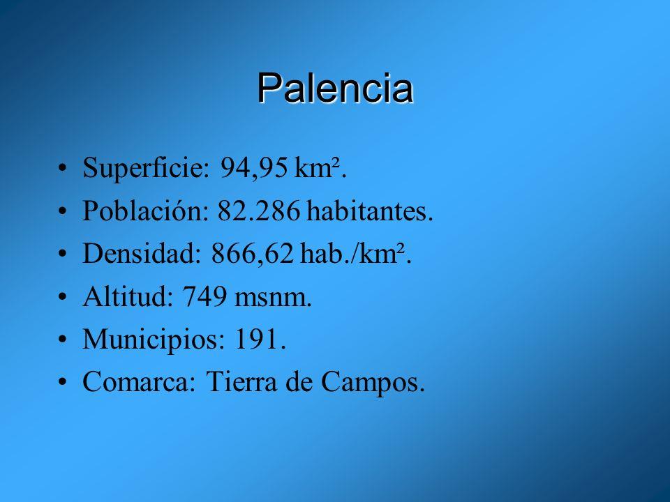 Palencia Superficie: 94,95 km². Población: 82.286 habitantes.