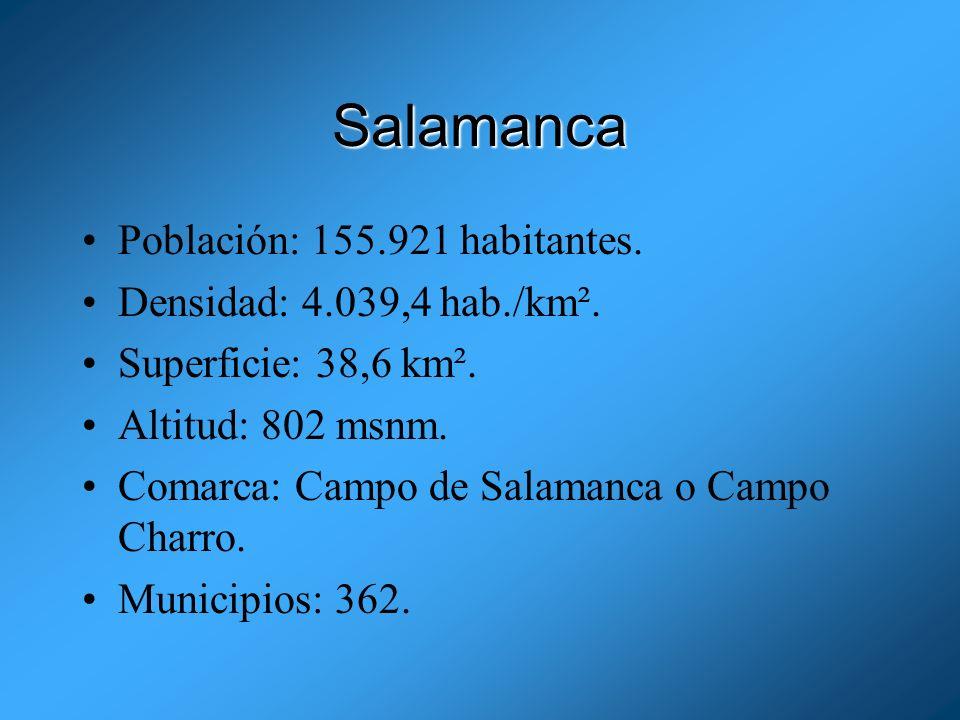 Salamanca Población: 155.921 habitantes. Densidad: 4.039,4 hab./km².