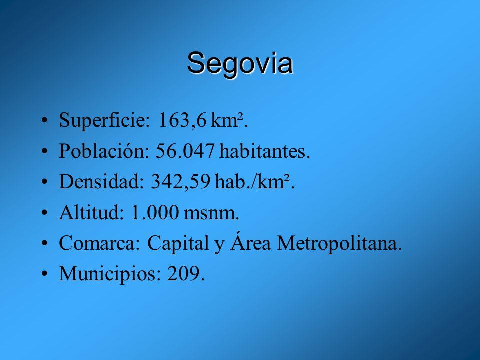 Segovia Superficie: 163,6 km². Población: 56.047 habitantes.