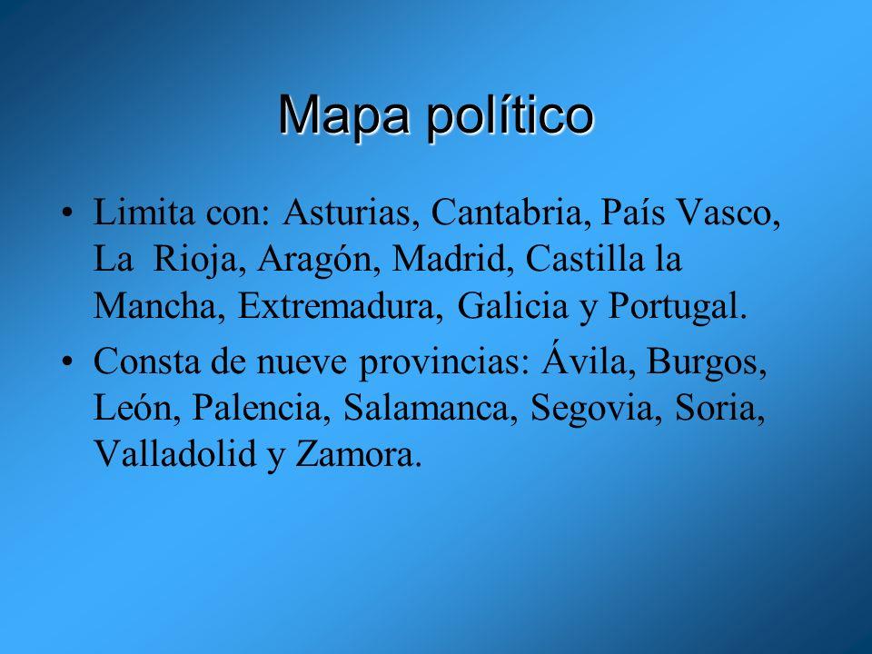 Mapa políticoLimita con: Asturias, Cantabria, País Vasco, La Rioja, Aragón, Madrid, Castilla la Mancha, Extremadura, Galicia y Portugal.