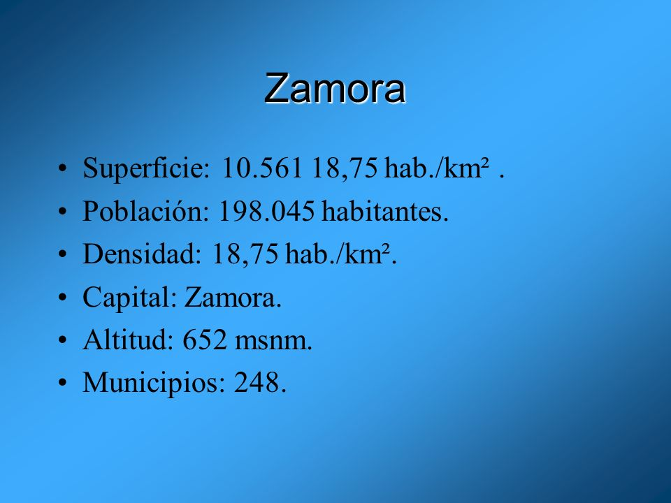 Zamora Superficie: 10.561 18,75 hab./km² .