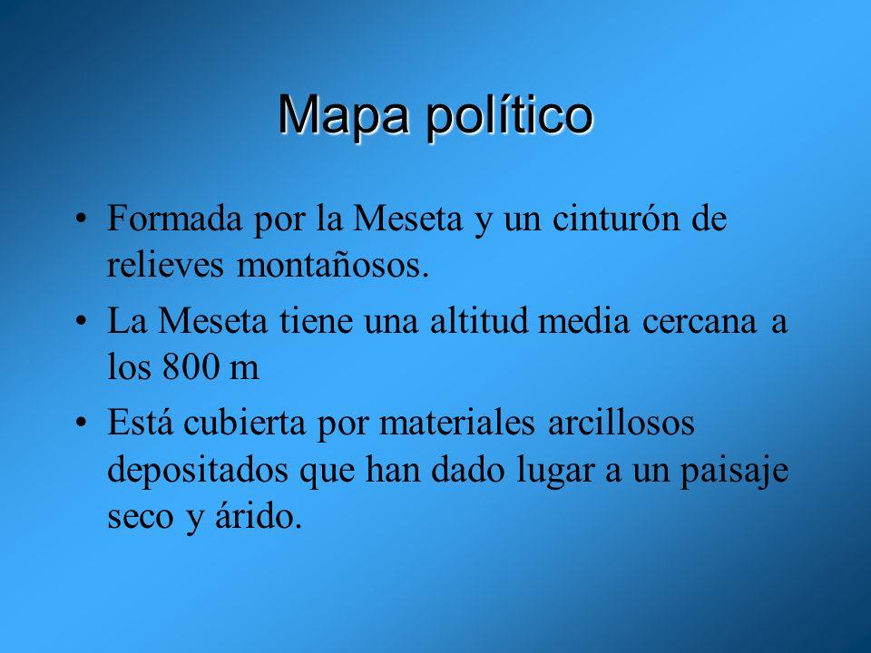 Mapa políticoFormada por la Meseta y un cinturón de relieves montañosos. La Meseta tiene una altitud media cercana a los 800 m.