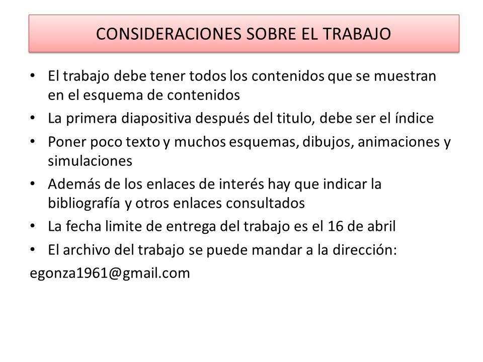 CONSIDERACIONES SOBRE EL TRABAJO