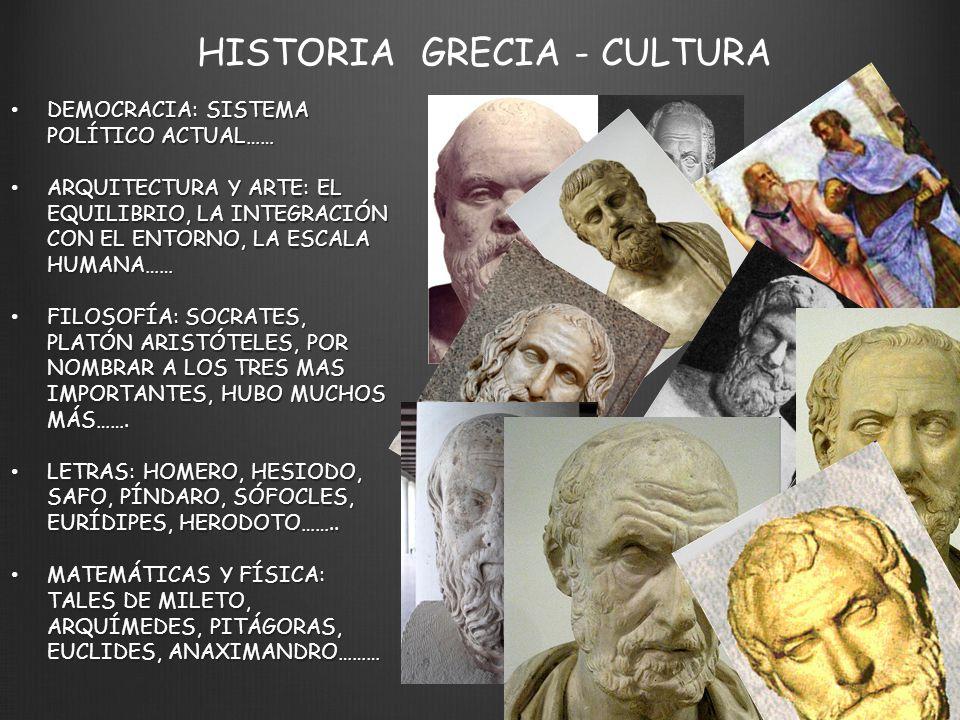 HISTORIA GRECIA - CULTURA