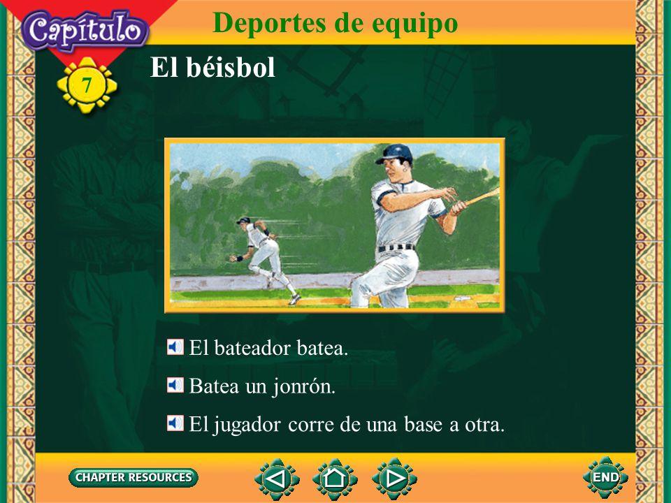 Deportes de equipo El béisbol 7 El bateador batea. Batea un jonrón.
