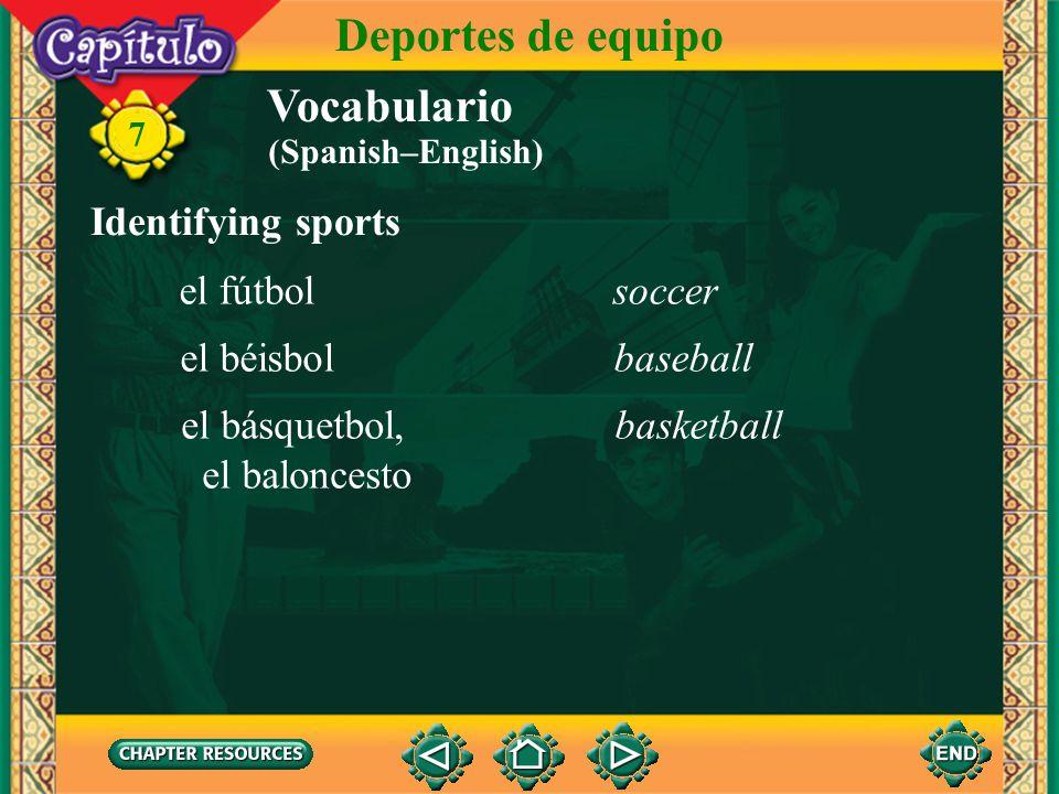 Deportes de equipo Vocabulario Identifying sports el fútbol soccer