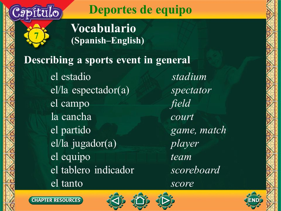 Deportes de equipo Vocabulario Describing a sports event in general