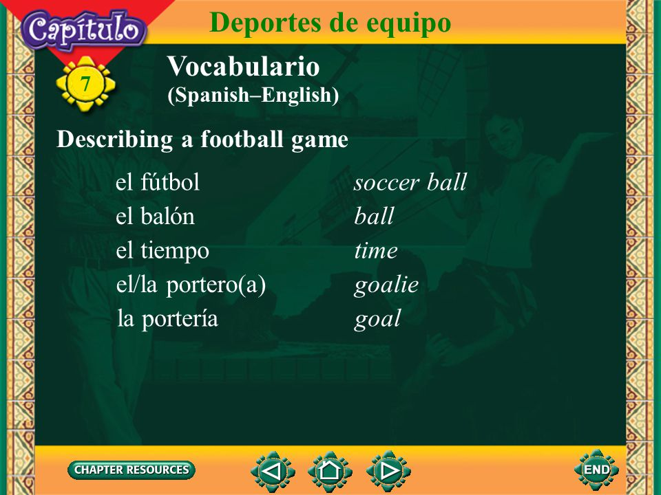 Deportes de equipo Vocabulario Describing a football game el fútbol
