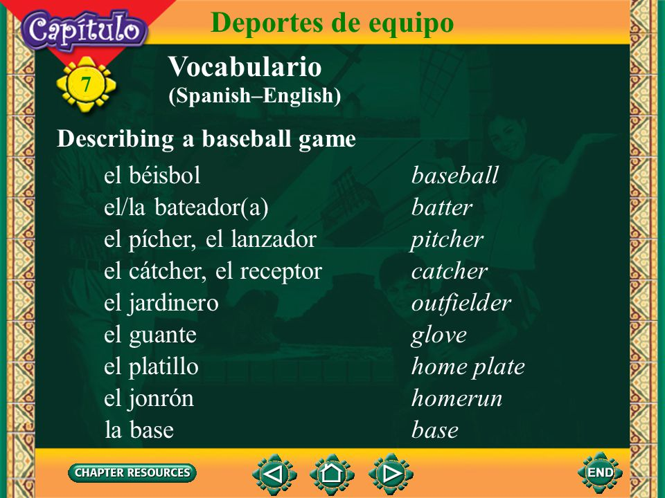 Deportes de equipo Vocabulario Describing a baseball game el béisbol