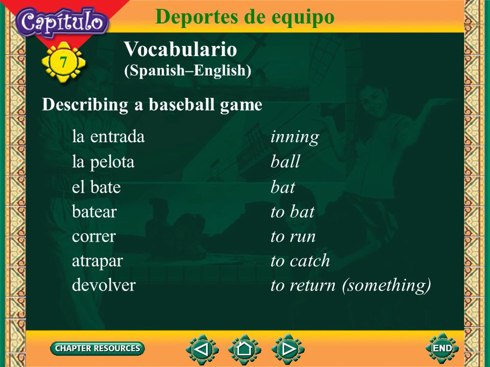 Deportes de equipo Vocabulario Describing a baseball game la entrada