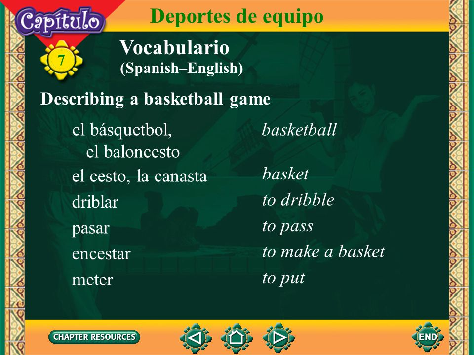 Deportes de equipo Vocabulario Describing a basketball game