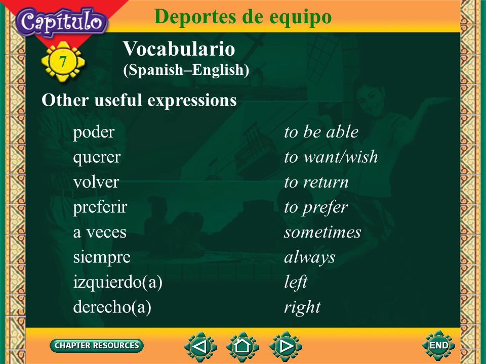 Deportes de equipo Vocabulario Other useful expressions poder