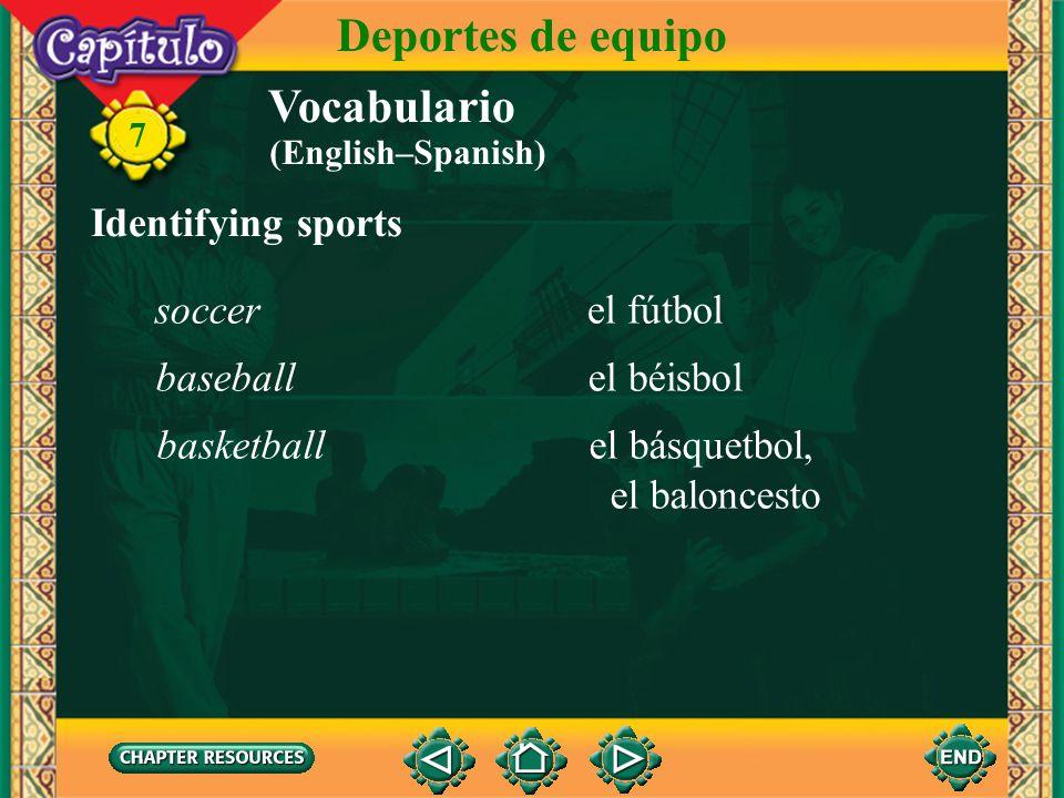Deportes de equipo Vocabulario Identifying sports soccer el fútbol