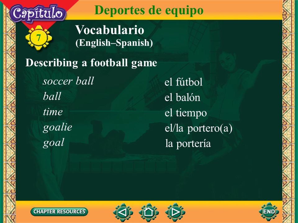 Deportes de equipo Vocabulario Describing a football game soccer ball
